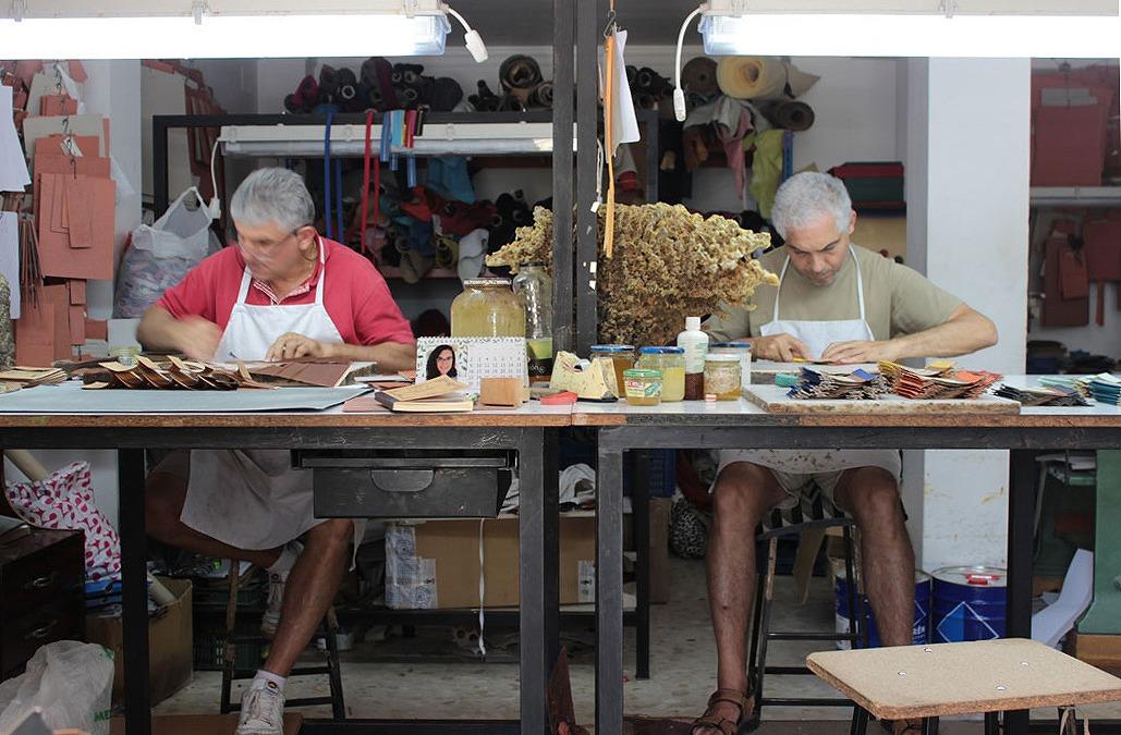 スペインの革工房