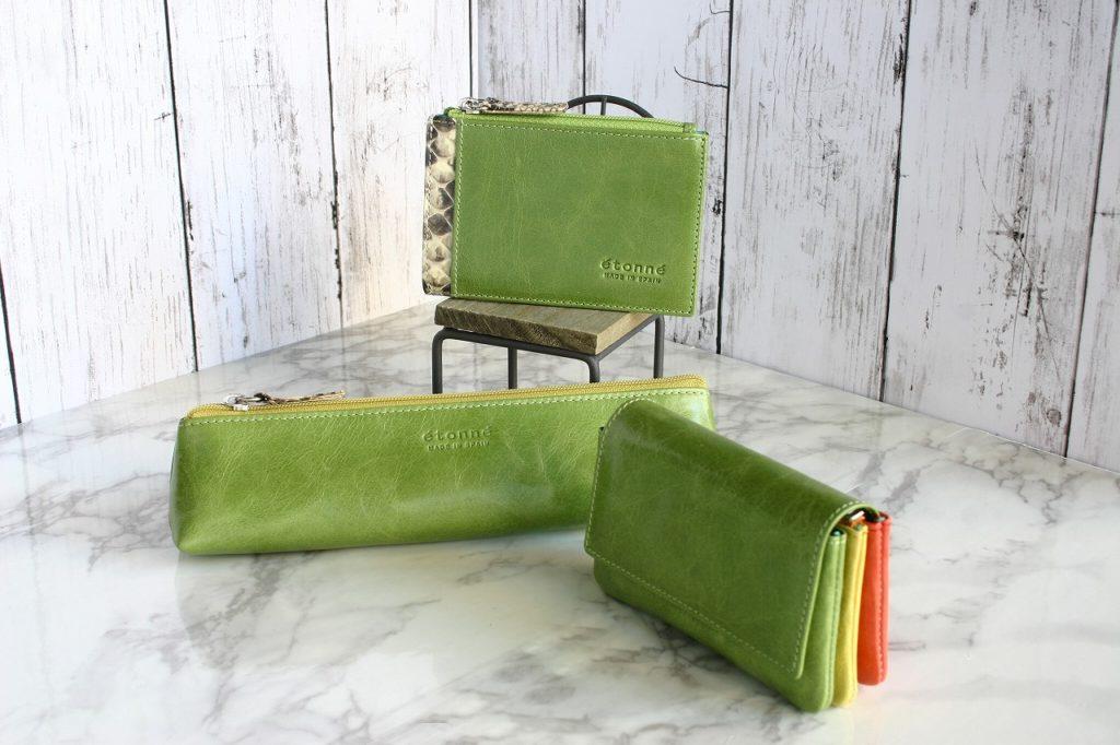アップルグリーン パスケース ペンケース ミニ財布