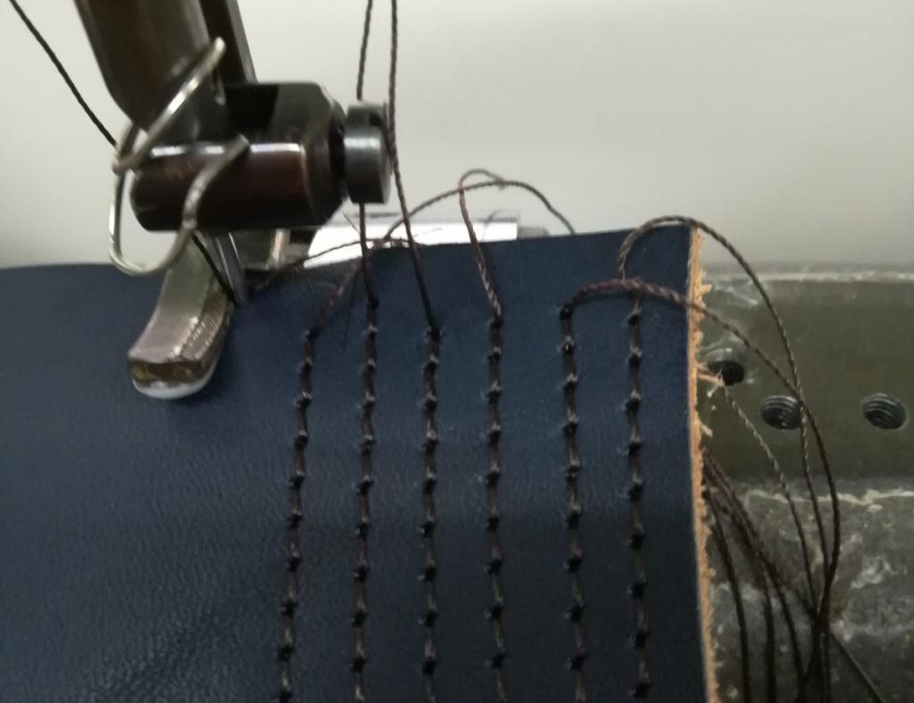 皮革直線ミシン縫い