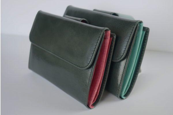 二つ折り財布 イングリッシュ キティピンクのツートンカラー スペイン製 イタリアンレザーの手作り革製品