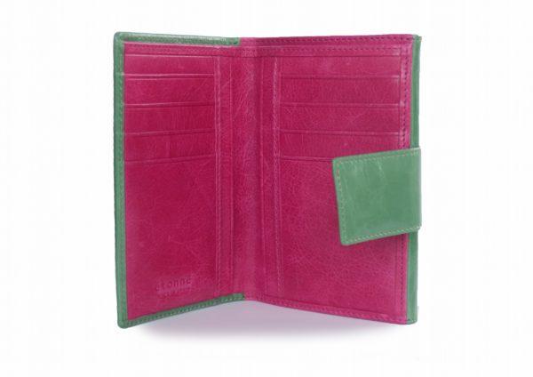 二つ折り財布 グリーンとフクシアのツートンカラー スペイン製 イタリアンレザーの手作り革製品