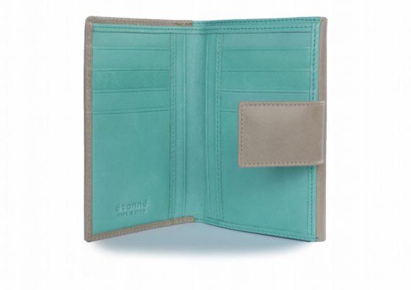 二つ折り財布 グレートブルーのツートンカラー スペイン製 イタリアンレザーの手作り革製品