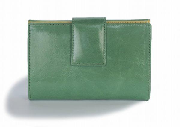 二つ折り財布 緑と黄色のツートンカラー スペイン製 イタリアンレザーの手作り革製品