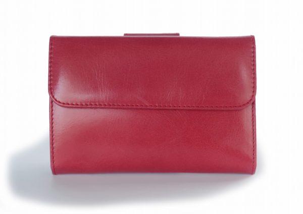 二つ折り財布 赤とグリーンツートンカラー スペイン製 イタリアンレザーの手作り革製品