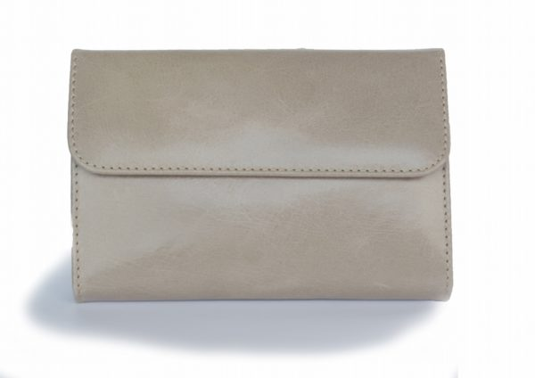 二つ折り財布 アッシュグレーとターコイズブルーのツートンカラー スペイン製 イタリアンレザーの手作り革製品