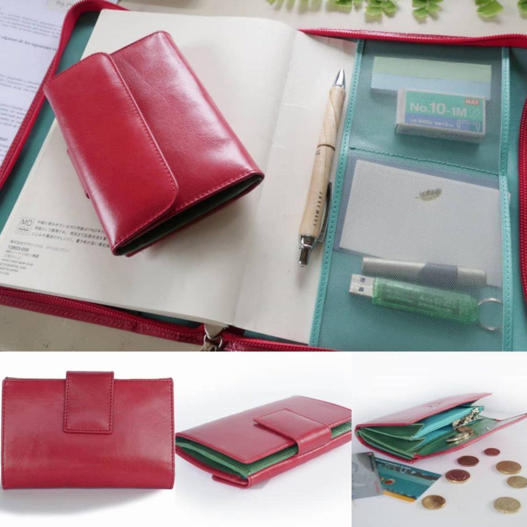 赤い二つ折り財布ツートンカラー